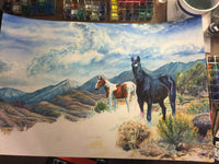 Wild Mustangs Original Fine Art, professionally Framed, West Sierra Nevada Art Watercolor Painting by artist Christie Marie E. Russell