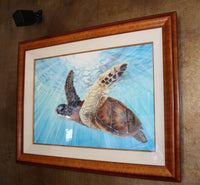Original Hawaiian Sea Turtle Art Watercolor Painting gemstone paints Aloha Ocean water Nature Fine Art Artist Christie Marie E Russell ©