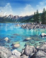 Original Watercolor Painting Lake Tahoe Sand Harbor Art turquoise water Mountain Nature Framed Art by Artist Christie Marie Elder-Russell ©