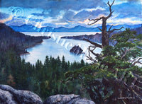 LARGE ORIGINAL ART Watercolor Painting Lake Tahoe Emerald Bay Art Lake Tahoe sunrise, fine art Framed artist Christie Marie E Russell ©