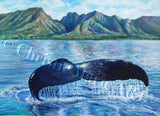 Original Watercolor Painting of Humpback Whale Lahaina, Hawaii Fine Art, genuine gemstone paints Artist Christie Marie E. Russell ©