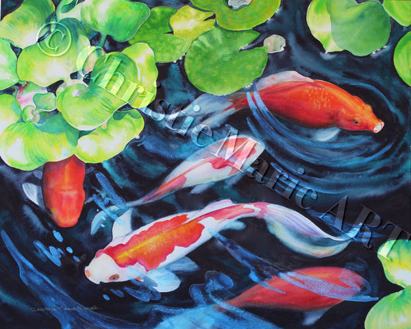 ORIGINAL WATERCOLOR Painting Koi Fish Pond Art, Nature Art, Gallery fine art by Artist Christie Marie E. Russell ©