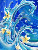 ORIGINAL Large Watercolor mixed media, Tropical Plumeria Flowers, Painting, Blue Hawaii, gallery art by artist Christie Marie E Russell ©