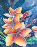 ORIGINAL Stylized Watercolor mixed media, Tropical Hawaiian Plumeria Flowers, Frangipani flower art by artist Christie Marie Elder-Russell