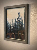 "Original Watercolor Art ""Sierra Mountain Crow"" Framed, Lake Tahoe Sierra Mountains style silhouetted forest pine trees with flying crow by a"