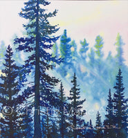 "Original Watercolor Art ""Forest Light"" Framed, Tahoe style silhouetted forest pine trees by artist Christie Marie Elder Russell ©"