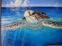 A Peace of the Tropics - Tropical Sea Turtle Art - Large ORIGINAL Oil Painting - Tropical Hawaiian Ocean Art by Christie Marie E Russell ©