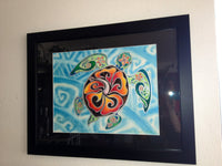 Nani Honu, Original Tropical Sea Turtle Art - Honu- Tortuga - Large Framed Watercolor  Painting by Christie Marie E. Russell ©