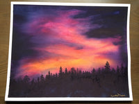 "Original Watercolor Art ""Sierra Sunset"" Original Painting, Framed sunset with Tahoe silhouetted forest pine trees Christie Marie E Russell ©"