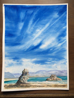 "Mono Lake Landscape Original Watercolor Art ""Mono Scape"" Original Fine Art Sierra Nevada Blue Sky and clouds Christie Marie E Russell ©"