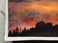 "Landscape Original Watercolor paintng Art ""Tahoe Expressions"" sunset w silhouetted forest pine trees Christie Marie E Russell ©"