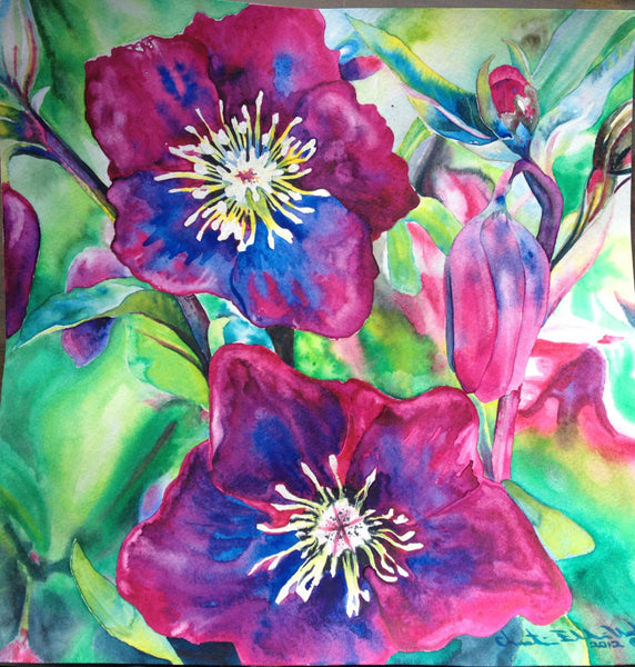 "Framed Original Fine Art - PASSION - magenta pink flowers - 12"" X 12""  Original Watercolor Painting Christie Marie E. Russell ©"