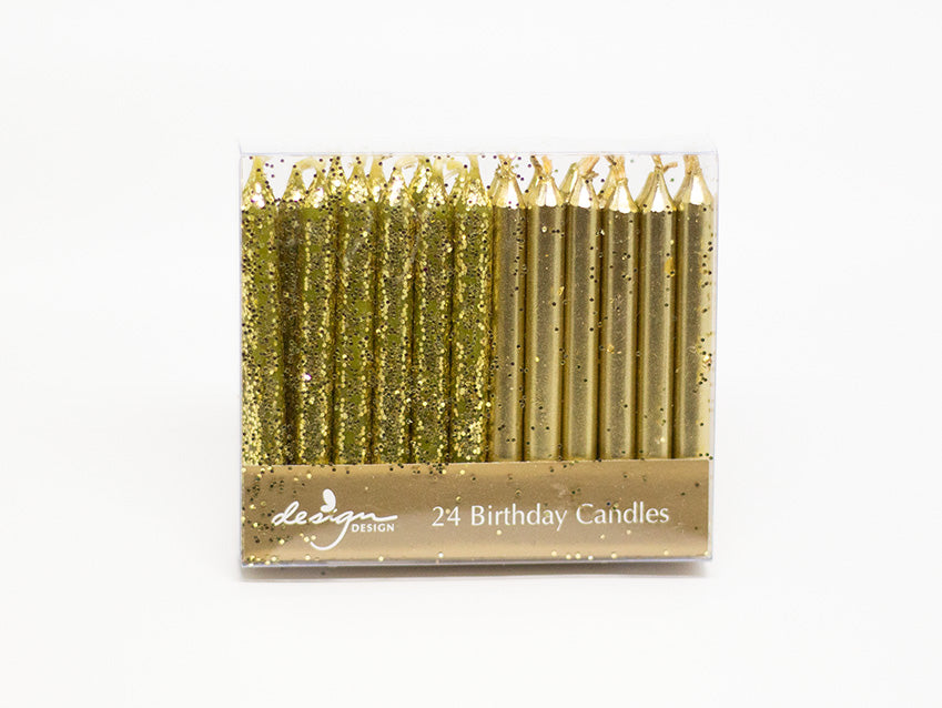 Candles 24-Pack Short Gold Glitter