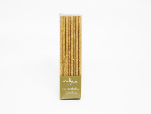 Gold Candles 24-Pack Extra Thin Glitter