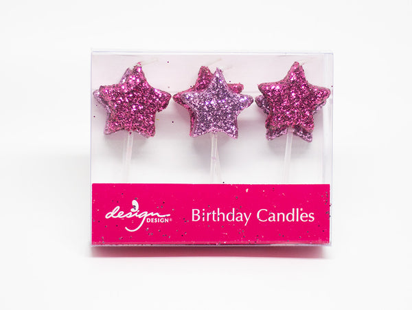 Pink Star Candles - 6 Pack