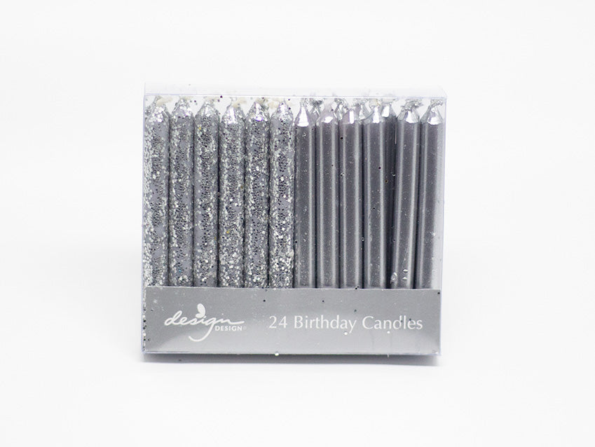 Candles 24-Pack Short Silver Glitter