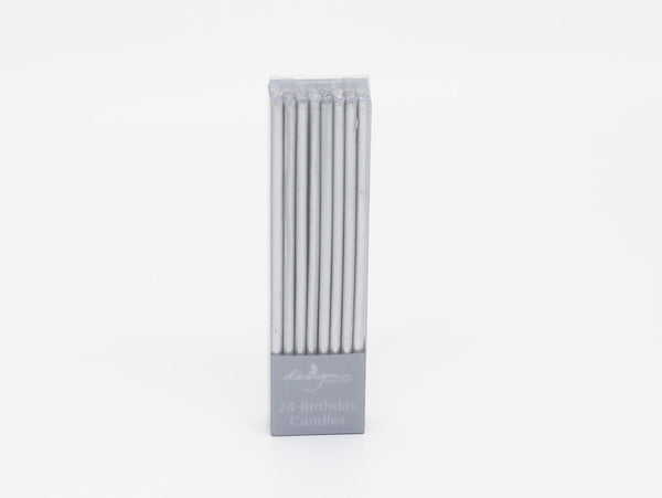 Silver Candles 24-Pack Extra Thin Matt