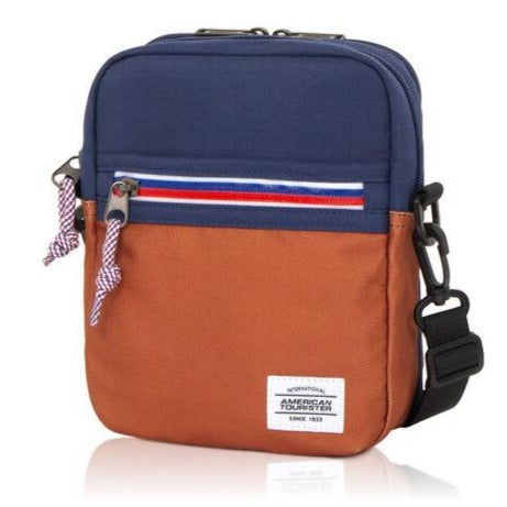 American Tourister Kris Vertical bag  (Navy/Chestnut)
