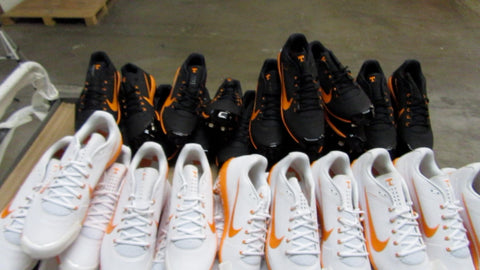 University of Tennessee Vol's baseball cleats looking good after application with TUFF TOE Pro pitcher and catcher cleat protection.