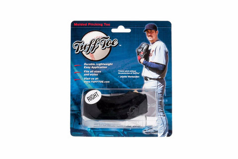 Tuff Toe Pro Molded Pitching Toe Protector. black left cleat