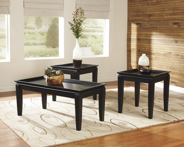 Ashley Delormy Black Finish 3 Pc Occasional Table Set