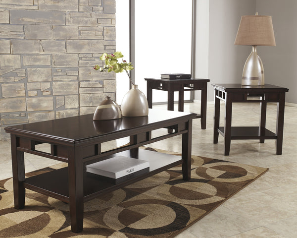 Ashley Logan Dark Brown Modern 3Pc Occasional Accent Table Set