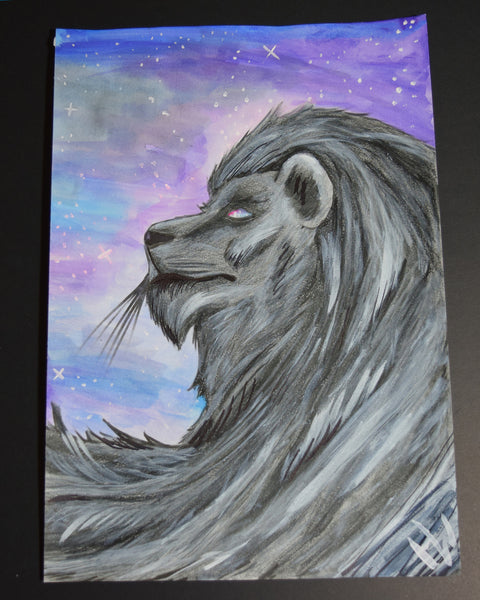 500 Mile Lion Watercolor Painting By Hannah Left Wright