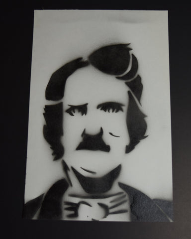 Black and White Poe Spray Paint Art By Hannah Left Wright