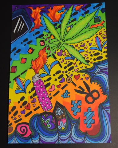 Blaze That Leaf Drawing By Hannah Left Wright