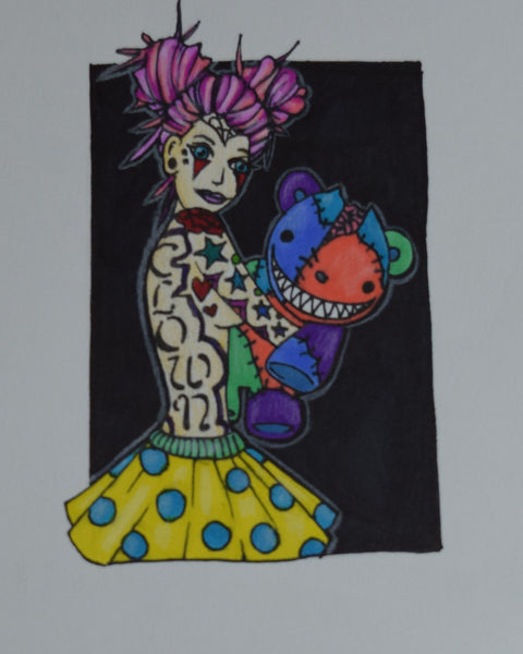 Clown Love Drawing By Hannah Left Wright