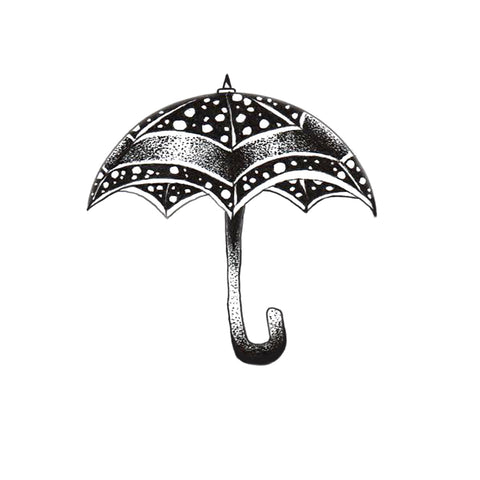 Ella Umbrella Black and White Vinyl Sticker