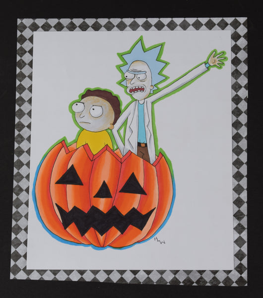 Rick and Morty Halloween Original Art By Hannah Left Wright