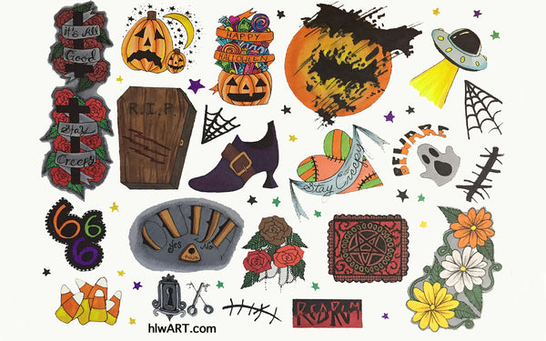 Halloween Sheet Of Temporary Tattoos