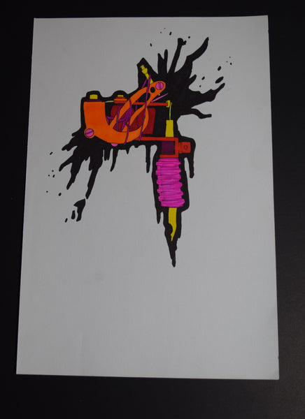 Red Ink Tattoo Original Art by Hannah Left Wright
