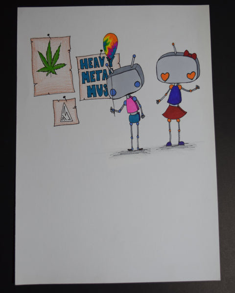 Robot Love Original Art by Hannah Left Wright
