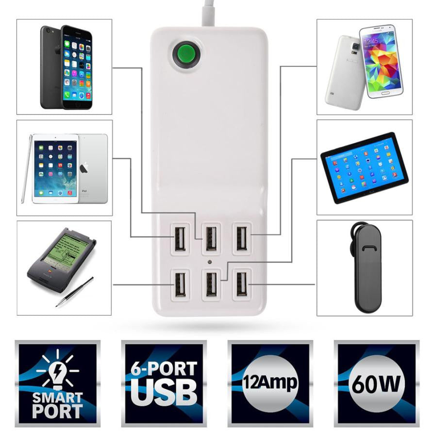 Universal 6 USB Multi-Port Travel Wall Charger/Quick Charging Station