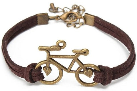 Leather Bicycle Bracelet