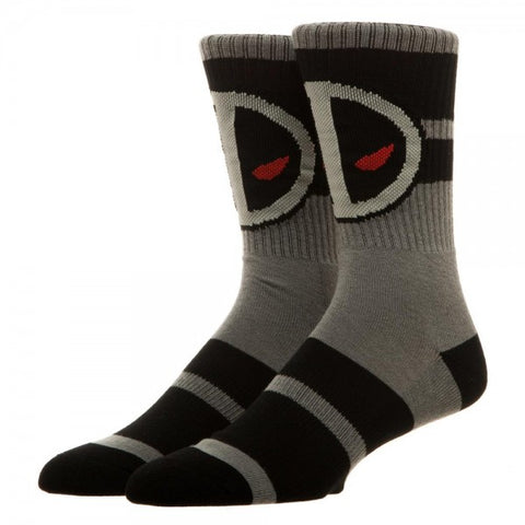 Marvel Deadpool Crew Socks (Black/Grey/Red) Unisex - 1 Pair