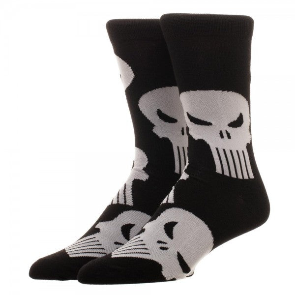 Marvel Punisher Crew Socks (Black/White) Unisex - 1 Pair