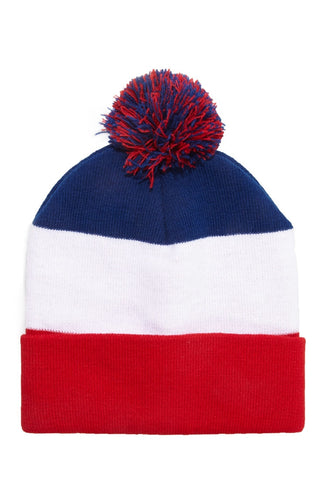 Classic Red White & Blue POM Knit Beanie - New w/ Tags - FACTORY SEALED