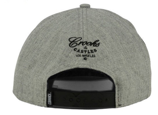 "Crooks & Castles ""CRKS"" Snapback Cap (Grey/Black) OSFA Adjustable Hat"