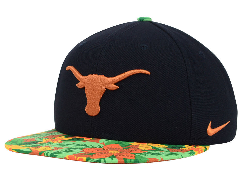 "Nike NCAA Texas Longhorns ""Floral Bill"" Snapback Cap - OSFA Adjustable Hat"