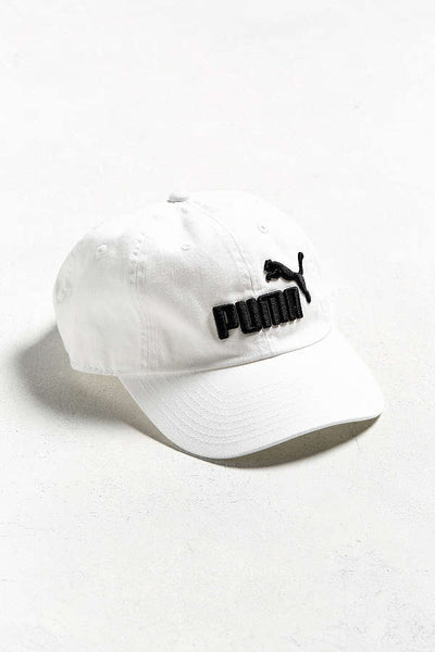 "PUMA ""Relaxed"" Adjustable Dad Cap (White/Black) OSFA Unisex Strapback"
