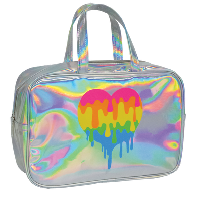 Holographic Dripping Heart Cosmetic Bag (large)