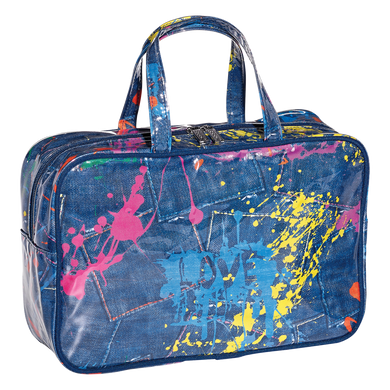 Denim Paint Splatter Cosmetic Bag (large)