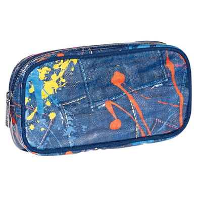 Denim Paint Splatter Cosmetic Bag (small)
