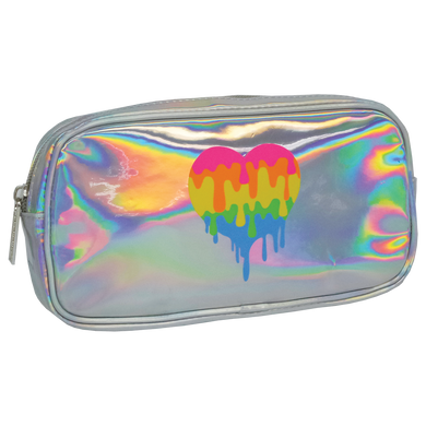 Holographic Dripping Heart Cosmetic Bag (small)