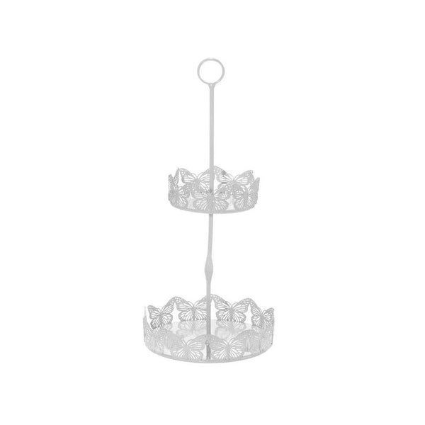 White Butterfly 2 Tier Jewelry & Accessories Stand