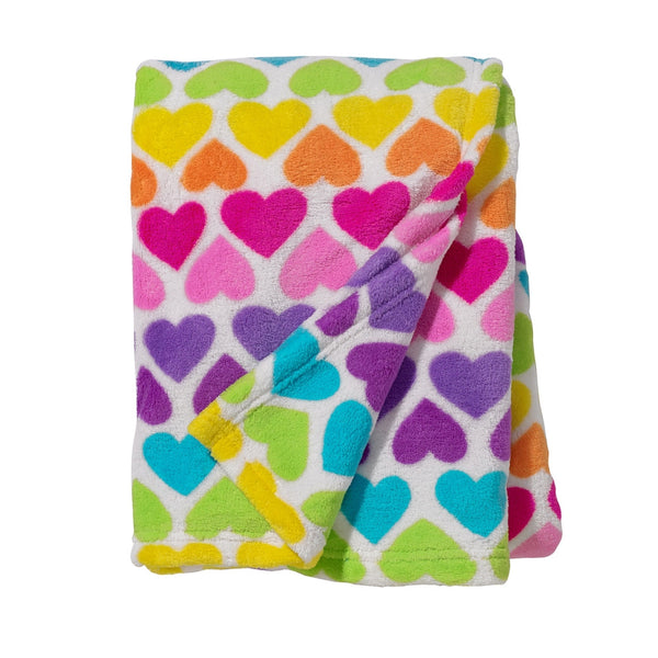 Rainbow Hearts Throw