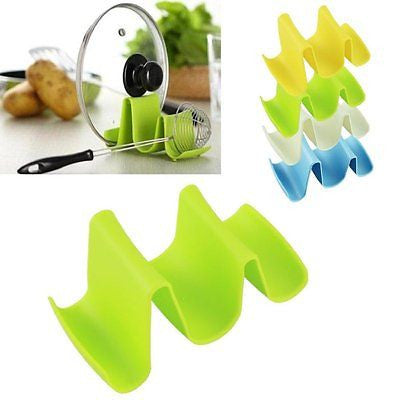 New  Wave Style Pan Pot Cover Spoon Lid Rack Rest Stand Holder Kitchen Utensil